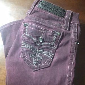 Rock Revival Margie Maroon Skinny Jeggings Size 24